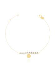 Złota bransoletka celabrytka  z kółkiem na kostkę - pr. 585