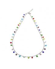 Srebrny naszyjnik z kolorowymi kamieniami - pr. 925