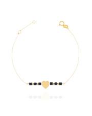 Złota bransoletka celabrytka  z sercem - pr. 585