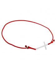 Srebrna bransoletka krzyżyk na sznurku pr. 925