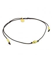 Srebrna bransoletka kulki żółte na czarnym sznurku pr. 925