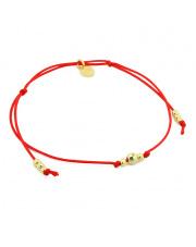 Srebrna bransoletka kulki żółte na czerwonym sznurku pr. 925