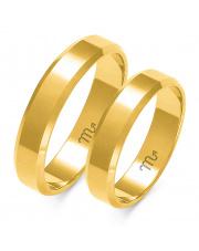 Złote obrączki ślubne fazowane, soczewka - pr.585