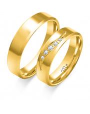 Złote obrączki fazowane z cyrkoniami, soczewka - pr.585