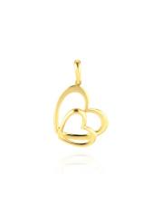 Złota zawieszka połączonych dwóch serc - pr. 585