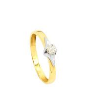 Złoty pierścionek zaręczynowy z brylantem -pr. 585