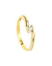 Złoty pierścionek zaręczynowy z brylantem - pr.585