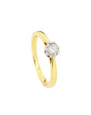 Złoty pierścionek zaręczynowy z brylantem - pr .585