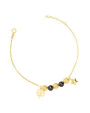 Złota bransoletka z koniczynką i gwiazdką - pr.585