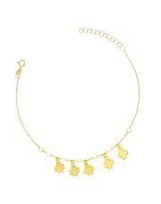 Złota bransoletka celebrytka z koniczynkami - pr.585