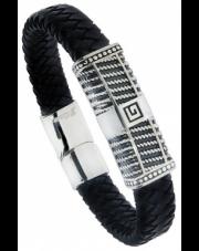 Pleciona czarna bransoleta stal A1986