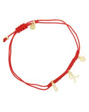 Pozłacana bransoletka na sznurku serce i nieskończoność - pr. 925