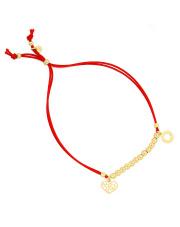 Pozłacana bransoletka na sznurku kulki z kółkiem i ażurowym sercem - pr. 925
