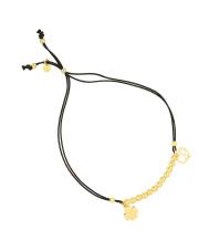 Pozłacana bransoletka na sznurku kulki z koniczynką i sercem - pr. 925