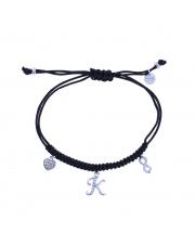 Srebrna bransoletka na sznurku serce i nieskończoność,litera K- pr. 925