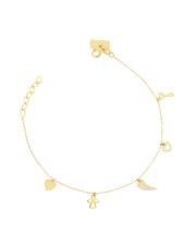 Złota bransoletka celebrytka z zawieszkami - pr.585