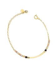 Złota bransoletka kolorowe kuleczki - pr.585