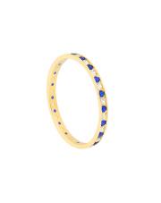 Złoty pierścionek z biało-niebieskimi cyrkoniami - pr.585