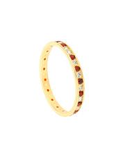 Złoty pierścionek z biało - czerwonymi cyrkoniami - pr.585