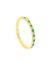 Złoty pierścionek z biało - zielonymi cyrkoniami - pr.585