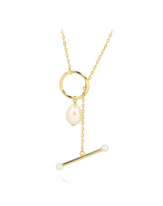 Pozłacany naszyjnik z perłą- pr.925