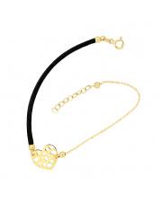 Złota celebrytka na sznurku z sercem - pr. 585