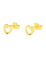 Złote kolczyki sztyfty serce z białą cyrkonią - pr. 585