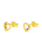 Złote kolczyki sztyfty serce z kolorowymi cyrkoniami - pr. 585
