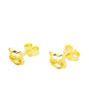 Złote kolczyki sztyfty z motywem kotka - pr.585