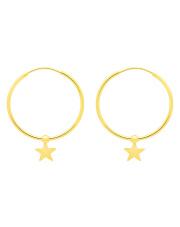 Złote kolczyki koła z motywem gwiazdki - pr. 585