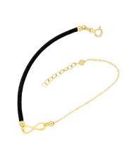 Złota bransoletka na sznurku z nieskończonością - pr. 585