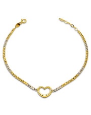 Złota bransoletka z sercem - pr.585