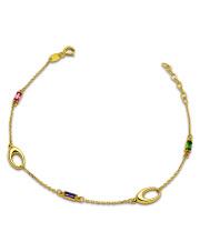 Złota bransoletka z kolorowymi kamieniami - pr.585