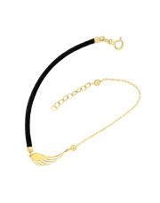 Złota bransoletka na sznurku ze skrzydłem - pr. 585