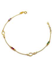 Złota bransoletka z kamieniami i znakiem nieskończoności- pr.585