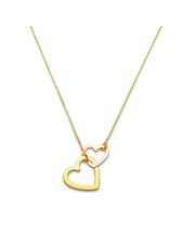 -15% Złoty naszyjnik celebrytka z motywem dwóch serc - pr. 585