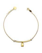 Złota bransoletka sześcian i serce - pr. 585