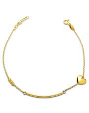 Złota bransoletka pałeczka i serce - pr. 585
