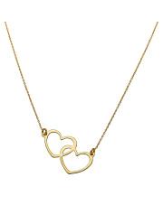 Złoty łańcuszek z motywem złączonych dwóch serc - pr. 585