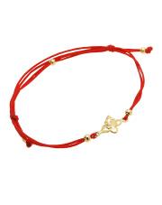 Złota bransoletka na sznurku z motylem - pr. 585