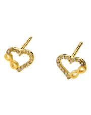 Złote kolczyki serce-nieskończoność sztyfty z cyrkoniami - pr.585