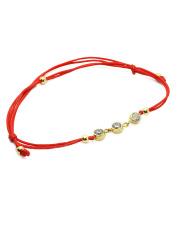 Złota bransoletka na sznurku z cyrkoniami - pr. 585
