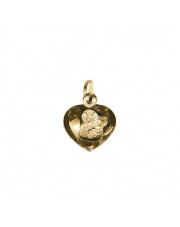 Złota zawieszka medalik serce z Matką Boską Częstochowską - pr. 585