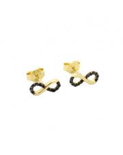Złote kolczyki nieskończoność z czarnymi cyrkoniami - pr.585
