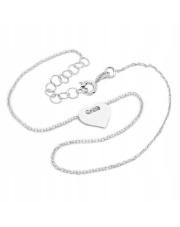 Srebrna bransoletka na kostkę z symbolem  serca- pr. 925