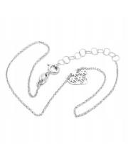 Srebrna bransoletka na kostkę z ażurowym  sercem- pr. 925