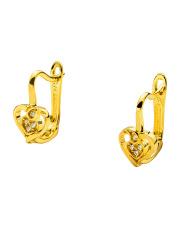 Złote kolczyki serduszka z cyrkoniami - pr 585