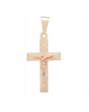 Złota zawieszka krzyżyk prawosławny różowy kolor- pr. 585