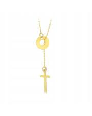 Złoty naszyjnik celebrytka krzyżyk i kółko - pr.585
