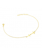Złota bransoletka celebrytka z krzyżykami - pr. 585